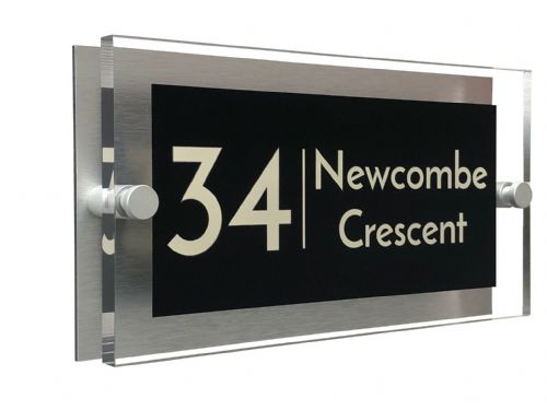 Rectangle Shape - Clear Acrylic House Sign - Black Colour with Double Cream text in Font  3